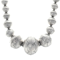 Hammered Sterling Silver Bench Bead Navajo Necklace 35068