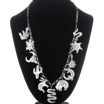 Vintage Silver Charm Navajo Necklace 35069