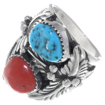 Turquoise Coral Silver Navajo Ring 35078