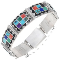 Turquoise Inlay Silver Link Bracelet 35079