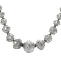 Hammered Bench Bead Sterling Silver Necklace 35083