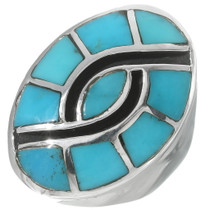Navajo Inlaid Turquoise Sterling Silver Ring 35088