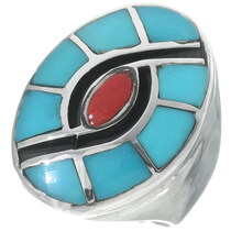 Navajo Inlaid Turquoise Coral Silver Ring 35089