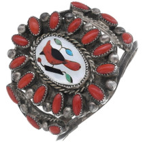 Old Pawn Inlaid Cardinal Sterling Silver Bracelet 35097