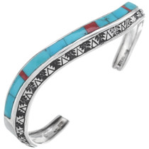 Inlaid Turquoise Silver Navajo Bracelet 35098