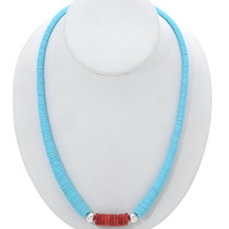 Turquoise Apple Coral Silver Necklace 27434