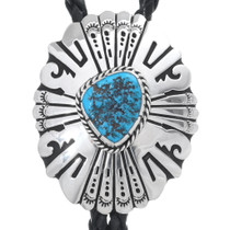 Navajo Turquoise Overlaid Sterling Bolo Tie 35102