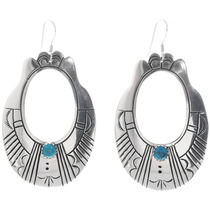 Turquoise Silver Navajo Earrings 35106