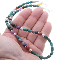 Rose Singer Silver Turquoise Bead Treasure Necklace 35109