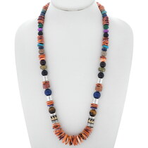 Navajo Spiny Oyster Gem Beaded Necklace 35110