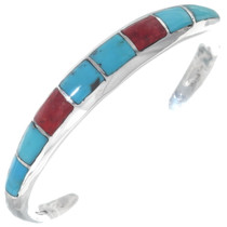 Inlaid Turquoise Coral Silver Bracelet 35115