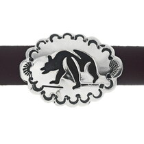Native American Silver Bear Hatband on Leather 35121