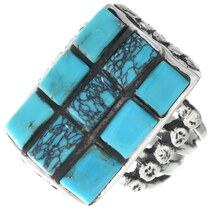 Navajo Spiderweb Turquoise Mens Ring 35122