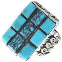 Navajo Spiderweb Turquoise Mens Ring 35122