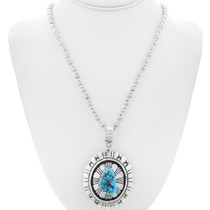 Turquoise Sterling Silver Overlay Navajo Pendant 35129