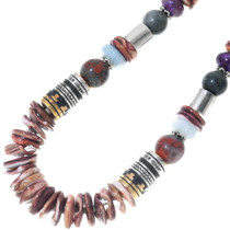 Sterling Silver Gold Barrel Beads Navajo Necklace 30993