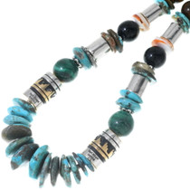 Sterling Silver Gold Barrel Beads Turquoise Necklace 31629