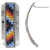Half Hoop Native American Beaded Earrings 35134