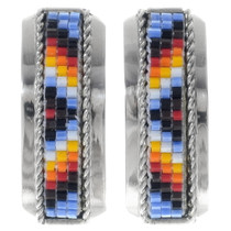 Navajo Mosaic Bead Sterling Silver Post Earrings 35134