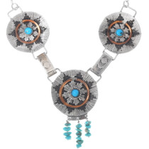 Vintage Silver Copper Turquoise Necklace 35137