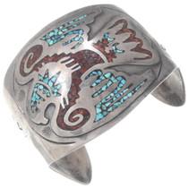 Vintage Turquoise Coral Navajo Eagle Bracelet 35140