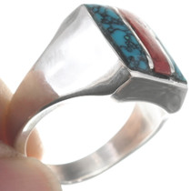 Native American Spiderweb Turquoise Ring 35142