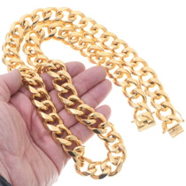 Mens Gold Curb Link Necklace 35157
