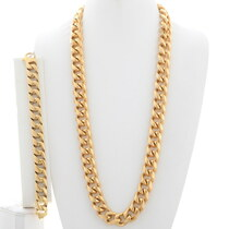 Gold Curb Link Necklace Bracelet Set 35161