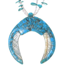 Spiny Oyster Shell Mosaic Turquoise Necklace 35170
