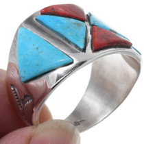 Sterling Silver Turquoise Inlay Navajo Ring 35171