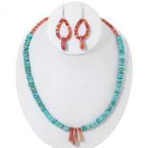 Navajo Turquoise Shell Necklace Set 35172