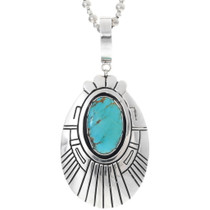 Turquoise Silver Navajo Pendant 35173