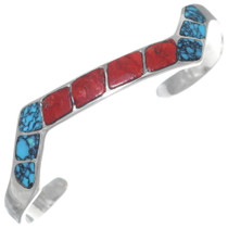 Inlaid Silver Turquoise Coral Bracelet 35174