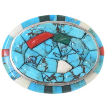 Old Pawn Inlaid Turquoise Belt Buckle 35182