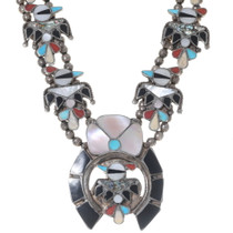 Zuni Inlay Mother of Pearl Turquoise Thunderbird Necklace 35184