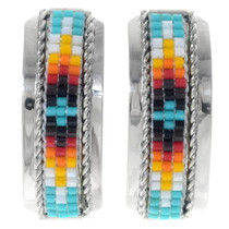 Navajo Beaded Silver Post Earrings 35185