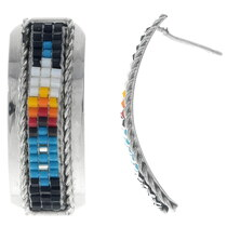 Mosaic Bead Silver Western Earrings 35186