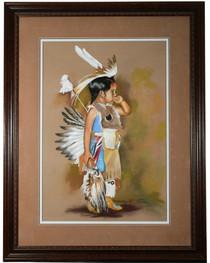 Vintage Native American Boy Original Painting 35199