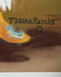 """Authentic Thelma Reicks """"Little Guy"""" Painting in Pastel 35199"""