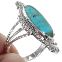 Turquoise Sterling Silver Navajo Design Ring 35204