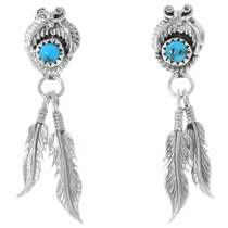 Turquoise Sterling Silver Feather Earrings 35219