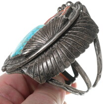 Birdseye Turquoise Coral Cuff Bracelet 35225