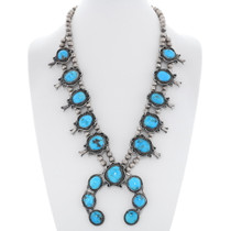 Old Pawn Kingman Turquoise Squash Blossom Necklace 35224