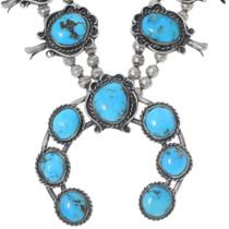 Vintage 1960s Kingman Turquoise Navajo Necklace 35224