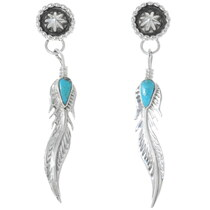 Navajo Silver Turquoise Feather Earrings 35229
