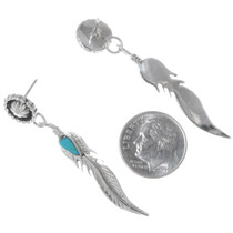 Native American Sterling Silver Feather Earrings 35229