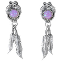 Navajo Opal Silver Dangle Feather Earrings 35230
