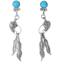 Turquoise Silver Navajo Earrings 35231
