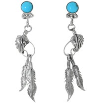Turquoise Silver Navajo Earrings 35231
