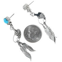 Long Turquoise Western Feather Dangle Earrings 35231